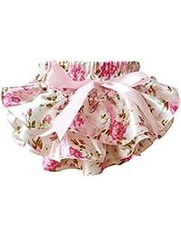 Sasairy Culotte Bloomer Couvre-Couche Floral Shorts Jupe Ruffle en Satin avec Nœud De Photograpghie Pour Bébé Fille de 0-24 mois Rose/Rose chaud/Bleu