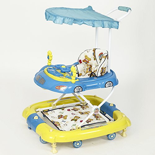 !!! Launch Offer - Selling at Crazy Price !!! Dash Oscar Musical Baby Walker Cum Rocker with Canopy and Parent Push Handle (Blue)