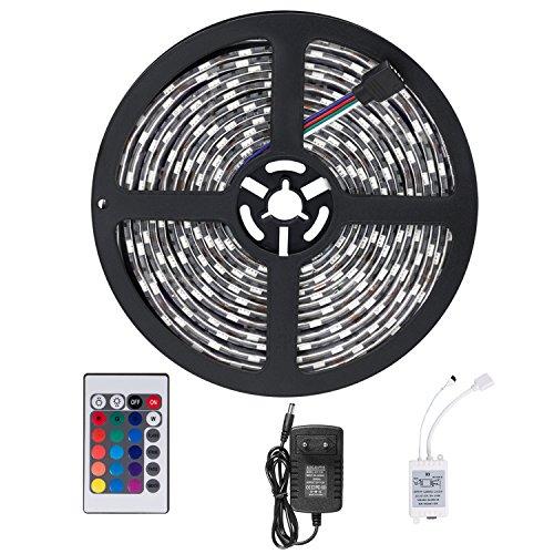 Sundix led strisce 5m impermeabile telecomando 3528 rgb smd striscia dei 300 led multicolore striscia flessibile light + ir 24 tasti + 12v 2a potenza