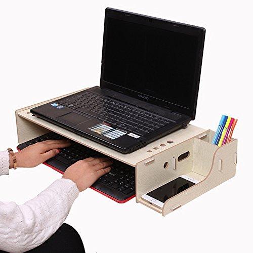 NACHEN Holz Computer Monitor Ständer Bürobedarf DIY Halterung Einstellbare Regale Desktop Tastatur Maus Aufbewahrungsbox, White