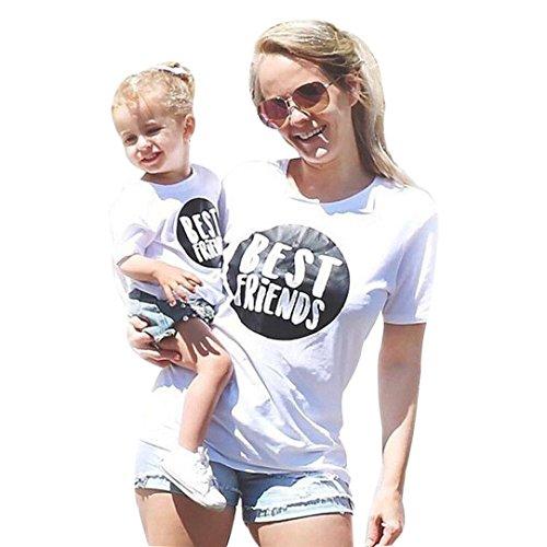 LUCKDE Mutter Kind Partnerlook Kleider, Crop Top Damen Baby Kleidung Sommer Junge Mama und Baby Kleidung T Shirts Tops Outfit Partnerlook Familie Mutter Tochter Kleid Photoshoot (2T, Weiß (Kind))