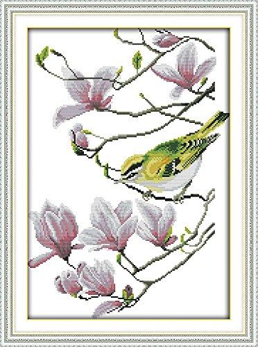 captaincrafts Hot Neue Meldungen Kreuzstich Kits Näharbeiten Muster gezählt, Stickpackung-Vogel, Pink Magnolia Blumen weiß (Gezählt Kreuzstich-handtücher)