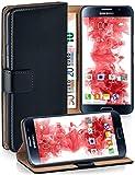 moex Samsung Galaxy S6 | Hülle Schwarz mit Karten-Fach 360° Book Klapp-Hülle Handytasche Kunst-Leder Handyhülle für Samsung Galaxy S6 Case Flip Cover Schutzhülle Tasche
