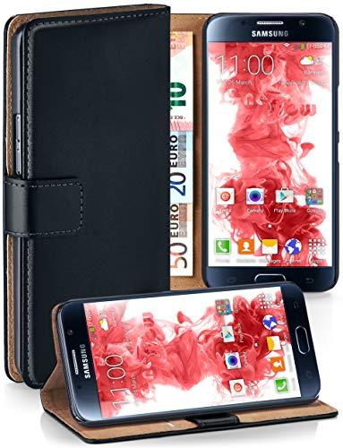 moex® Booklet mit Flip Funktion [360 Grad Voll-Schutz] für Samsung Galaxy S6 | Geldfach und Kartenfach + Stand-Funktion und Magnet-Verschluss, Schwarz - Naht Pinzette