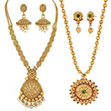 #2: Reeva Traditional South Indian Necklace Combo and Earring Jewellery Set for Women
