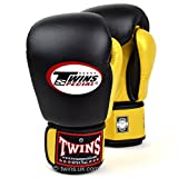 Twins Special - Guantes de boxeo con velcro para Muay Thai, color negro y dorado, BGVL-3T, 340 g