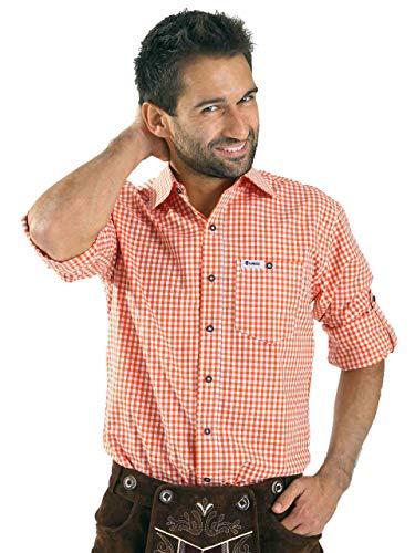 ALMBOCK Trachtenhemd Herren kariert | Slim-fit Männer Hemd orange kariert | Karo Hemd aus 100% Baumwolle in den Größen S-XXXL Orange Karierte