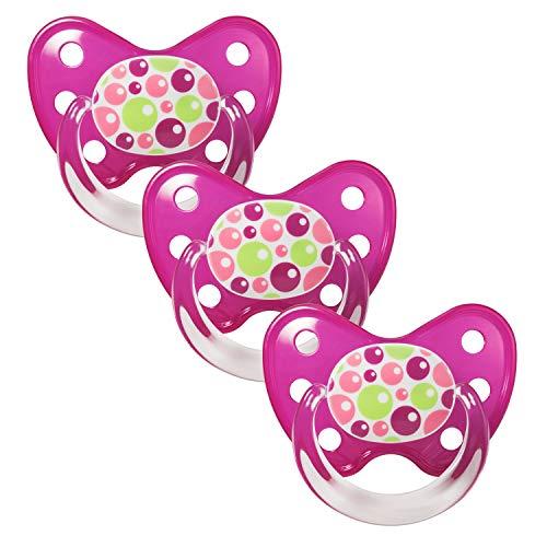 Dentistar® Latex Schnuller 3er Set - Nuckel Größe 2, 6-14 Monate - Naturkautschuk Beruhigungssauger für Babys - Bubbles, pink (Schnuller Newborn Mit Clip)