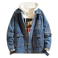 outerwear Men's Autumn Fashion Casual Outwear Trend Letter Print Denim Jackets Button-Front Pockets Jean Jacket Coat,Dark Blue,X-Large
