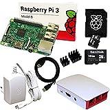 Raspberry Pi 3 Set mit 16 GB SanDisk SD, HDMI, original Netzteil und Gehäuse, Kühlkörper (weiß)