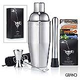 Cocktailset von GRAND – Cocktail Mixer Geschenk Set | Ideal für Zuhause oder die Bar | 6er Set Inklusive 50 Cocktail Rezeptkarten. Premium Barkeeper Cocktailshaker Set.
