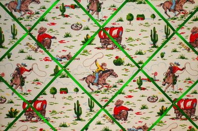 Extra Large Cath Kidston Cowboy Hand Crafted Fabric Notice / Pin / Memo Board
