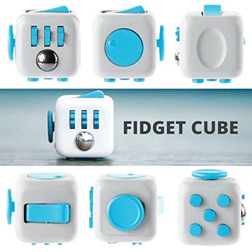 Fidget Cube Toy Anxiety Attention Toy Gift Stress Relief for Children and Adults (White / Blue) -