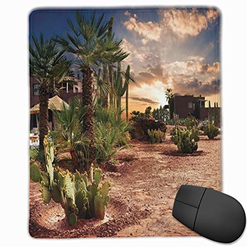 Oasis Palm-design (Mouse Mat Stitched Edges, Majestic Sky View Palm Trees And Cactus In Oasis Morocco Tropic Nature,Gaming Mouse Pad Non-Slip Rubber Base)