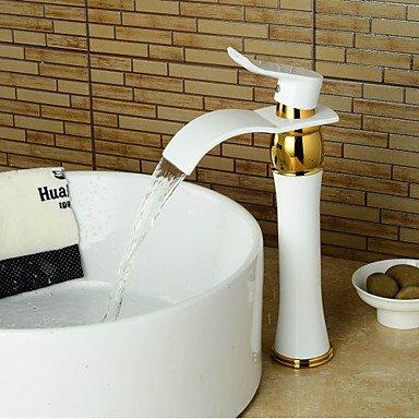 mer Waschbecken Wasserhahn hohen Wasserfall breite handgemalte Ti-PVD-weiß + gold (Weiß Und Gold-kunststoff-platten)