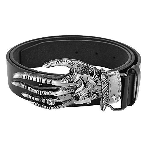 SRI Men's Leather Cowboy Funky Belt Buckle (Black, Free Size)