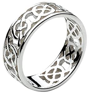 Heritage Sterling Silver Celtic Open Knotwork Edged Band - Size - K