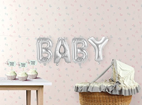 enballon Babyparty Babyshower Buchstaben-Ballons mit Palandi® Sticker (Babyshower Ballons)