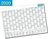 XL Wandkalender 2020 / Kalender Jahresplaner - 14 Monate Jahreskalender + Gratis Urlaubsplaner 2020 (98 x 59 cm)