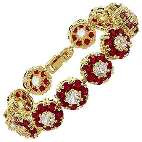 Riva Damen Geschenk Armband 18K Gelbgold Vergoldet Rot Rubin Trauung Schmuck