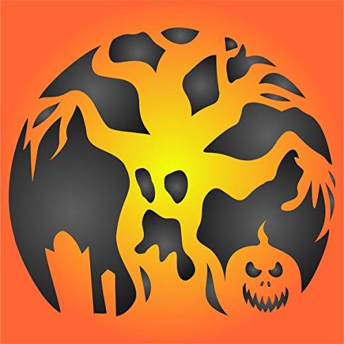 Scary Baum Halloween Schablone-wiederverwendbar Creepy Urlaub Spuk-Baum Wand Schablone-Vorlage, auf Papier Projekte Scrapbook Tagebuch Wände Böden Stoff Möbel Glas Holz etc. L