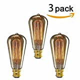 KINGSO 3 pack Amber Outer Casing bayonet Edison Retro Light Bulb Vintage Tungsten Squirrel Cage B22 60w 19 Anchors Incandescent Bulbs for Home Light Fixtures Decorative Glass 220V Warm White 2300K