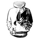 Männer Langarm 3D Digital Print Teufel Malerei Liebhaber Design Baseball Pullover Hoodies Kapuzenpullover(XL,Weiß)