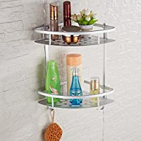 Rain Queen stainless steel aluminium double corner shelf wall bracket tray/storage shelf 2 hooks - bathroom, Full