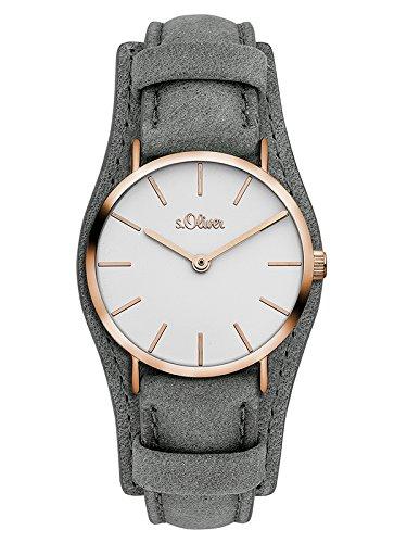 s.Oliver Damen Analog Quarz Uhr mit Leder Armband SO-3449-LQ