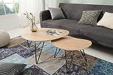 DuNord Design Wohnzimmertisch Couchtisch Holz natur schwarz Beistelltisch Nierentisch 2er Set Retro Nierenform Tischset GRANADA