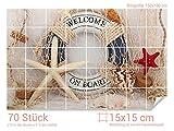 Graz Design 761698_15x15_100 Fliesenaufkleber See-Sterne/Rettungsring für Kacheln | Bad-Fliesen mit Folie überkleben (Fliesenmaß: 15x15cm (BxH)//Bild: 150x100cm (BxH))