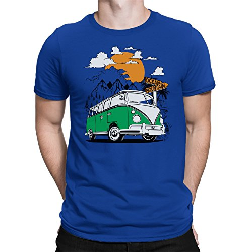 PAPAYANA BULLI-ADVENTURE-BUS-GRÜN - Herren Fun T-Shirt - Bedruckt - Large Royalblau (Baumwoll-t-shirt 100% Einlaufvorbehandelt)