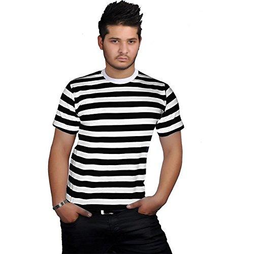 mafhh55 Unisex Herren Damen Kinder Weiß Stripped Schwarz Blau Rot Kurzarm Baumwolle Streifen Top T-Shirt (Schwarz, Männer XXL UK24-26 EU(52-54)) (Lager Schwarz T-shirt)