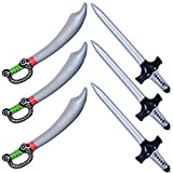 Halu Inflatable Pirate Sword Knifes Stick Balloons For Pirate Theme Disfraces Accesorios Suministros para Fiesta Favores Decoraciones Accesorios de Disfraces Accesorios (6 PCS)