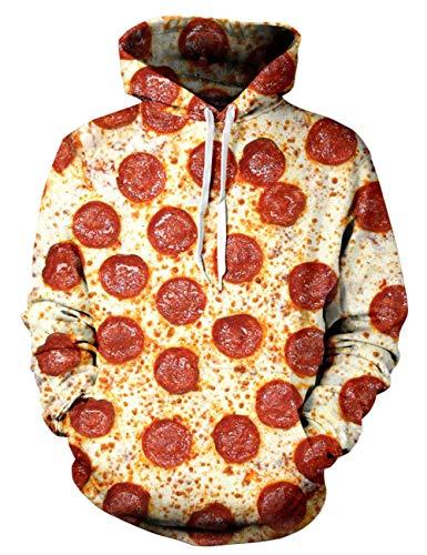 ALISISTER Unisex 3D Pullover Hoodie Lässige Pizza Gedruckt Langarm Kapuzen Kordelzug Sweatshirt S/M -