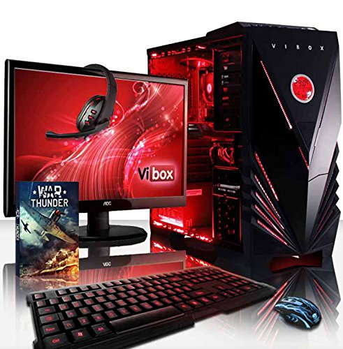 "Vibox Sharp Shooter Pacchetto 7XS Gaming PC con Gioco War Thunder, 21.5"" HD Monitor, 4GHz AMD FX Quad Core Processore, nVidia GeForce GTX 750 Scheda Grafica, 2TB HDD, 8GB RAM, Case Commando, Rosso"