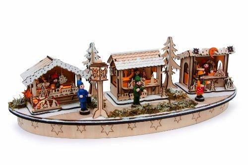 """Lampe """"Weihnachtsbasar""""  aus Holz, mit vielen Details und Verzierungen, wunderschöner und stimmungsvoll beleuchteter Weihnachtsmarkt, für das Fenster oder als Dekoration im Zimmer"""