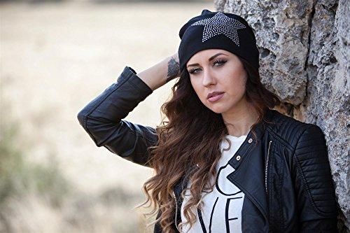 styleBREAKER chapeau bonnet classique avec application strass étoiles, chaud, Unisexe 04024023 Noir - Anthracite