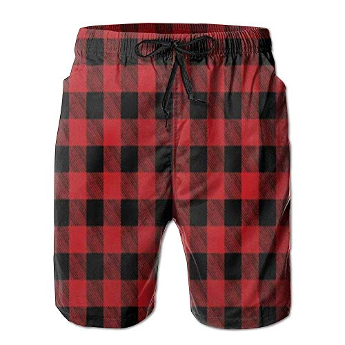 Madras Plaid Shorts (cleaer Men's Beach Shorts Swim Trunks Buffalo Plaid Red Checkered Board Shorts with Pockets Small)