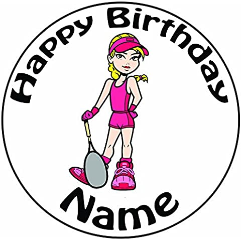 Personalizzabile femmina giocatore di tennis–Topper per torta a pre-cut rotondo 8