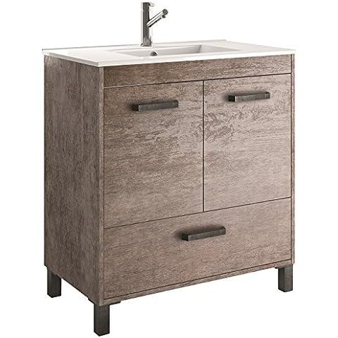 Cygnus Bath Olympia - Mueble de baño, 80 cm, con 2 puertas de cierre amortiguado, color roble