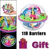 DIKEWANG Mini Ball Barrieren Labyrinth, 2017Neueste Stress Reliver 118Barrieren 3D Labyrinth Magic Intellect Ball Balance Labyrinth Perplexus Puzzle Spielzeug Geschenk verbessern Logisches Denken Ability für Kinder für Erwachsene