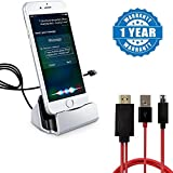 #10: Captcha Iphone Charge and Sync with Lightning Cable Connector Dock Charger Compatible With Apple iPhone 5/5s/5se/6/6s/6s plus/7/7 plus & iPad, With TV AV Micro USB MHL to HDMI Cable (1 Year Warranty)
