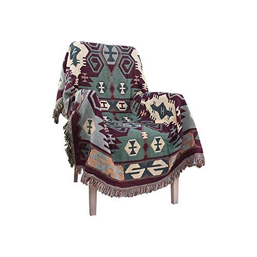 Harson&Jane Estilo Azteca Jacquard Borla Tiro Manta Sofá Silla Cubierta Mantel 5 Tamaño Disponible (130x180cm, Verde)
