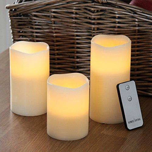 Festive lights, 3candele di cera vera, profumate alla vaniglia, con led ad effetto tremolante, con telecomando  rund