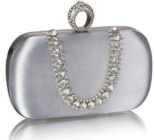 Trendstar New Ladies Argento Pochette Donna Diamante Cristallo Partito Wedding Prom Argento Borsa 1