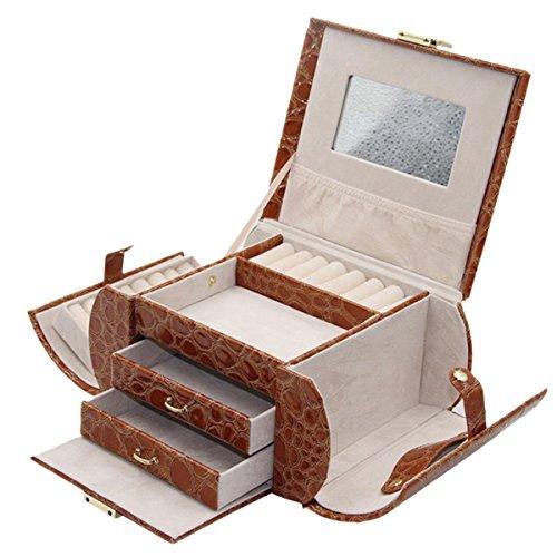Knott Brown Croco Designer Jewellery Makeup case