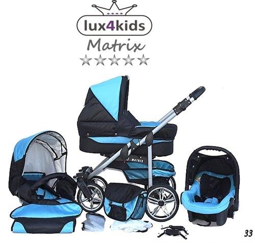 Chilly Kids Matrix II Kinderwagen Komplettset (Autositz & Adapter, Regenschutz, Moskitonetz, Schwenkräder) 33 Schwarz & Türkis