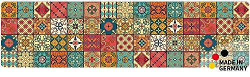matches21 Küchenläufer Teppichläufer Teppich Läufer Marokko Retro Mosaik 50x180x0,4 cm maschinenwaschbar