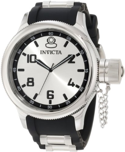 Invicta Watches, Men's Russian Diver Silver Dial Black Polyurethane, Model 1435 image
